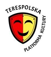 logo Terespolskiej Platformy Kultury - czerwono żółta tarcza rycerska z wyrysowaną maską teatralną